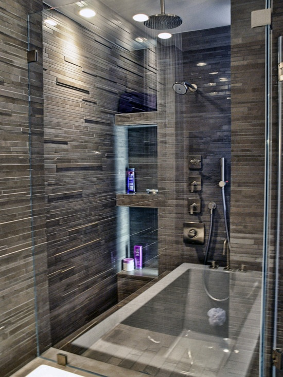 tiles on the big shower space including ceiling