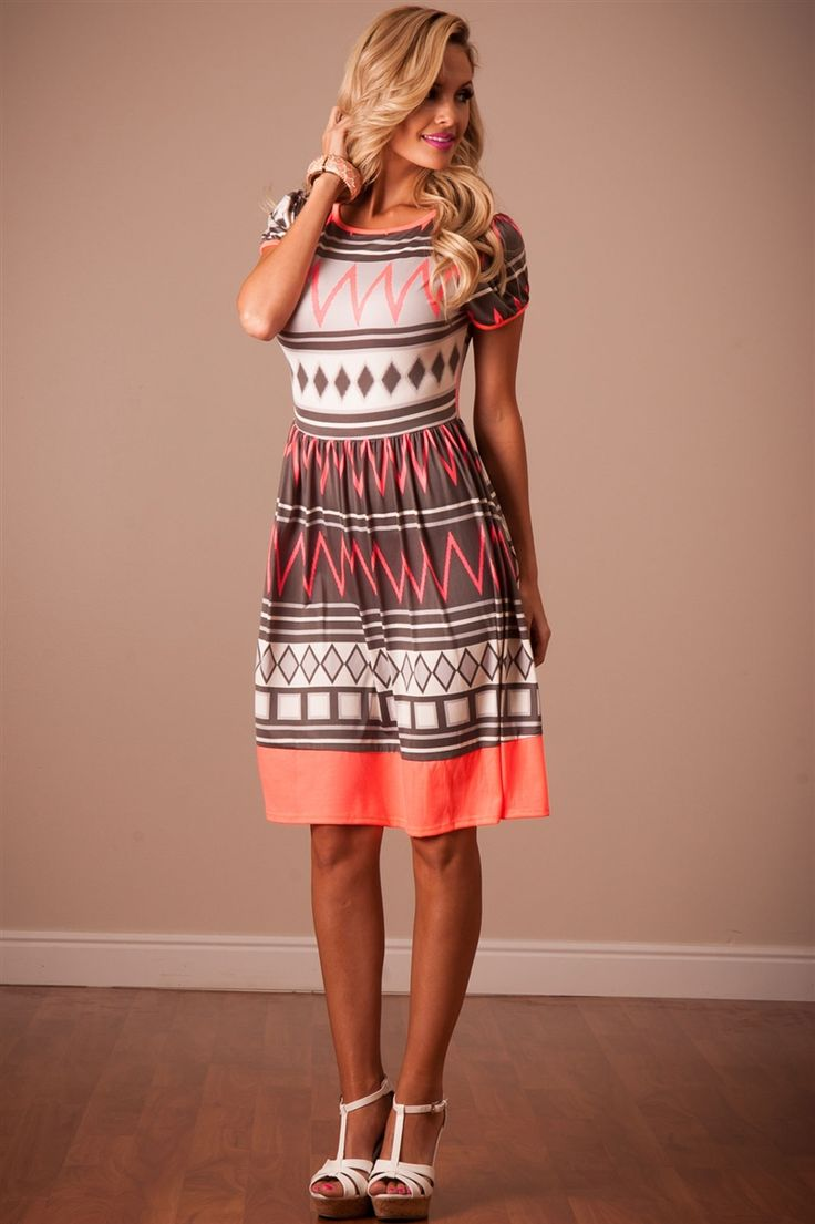Neon coral summer dress affordable modest boutique clothes for women trendy modest church dresses