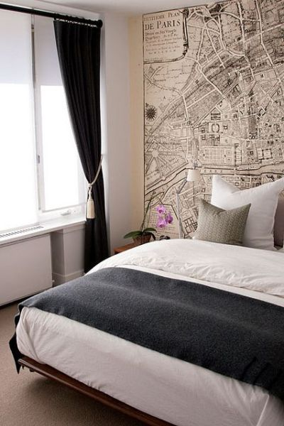 Use a vintage map or graphic wallpaper on a feature wall behind your bed | Black & White ...