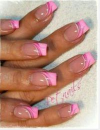 Nail Art, Pink french tips, pretty n pink, pretty nails ...