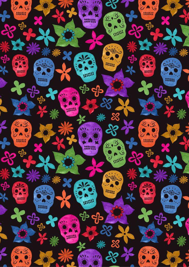 Cute Dia De Los Muertos Wallpaper Black Background Sugar Skulls Iphone Galaxy Tab