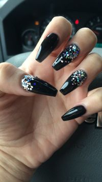 Coffin nails Black with Glitter #nails #coffin | My Style ...