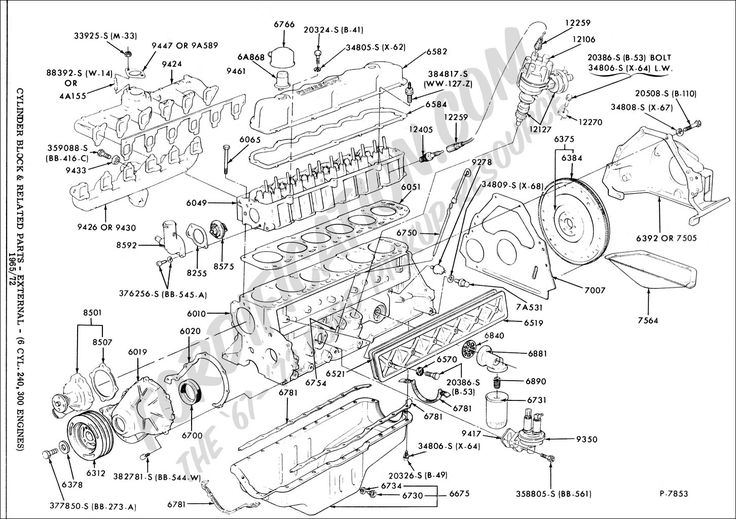 ford 200 cid 6 cylinder engine diagram