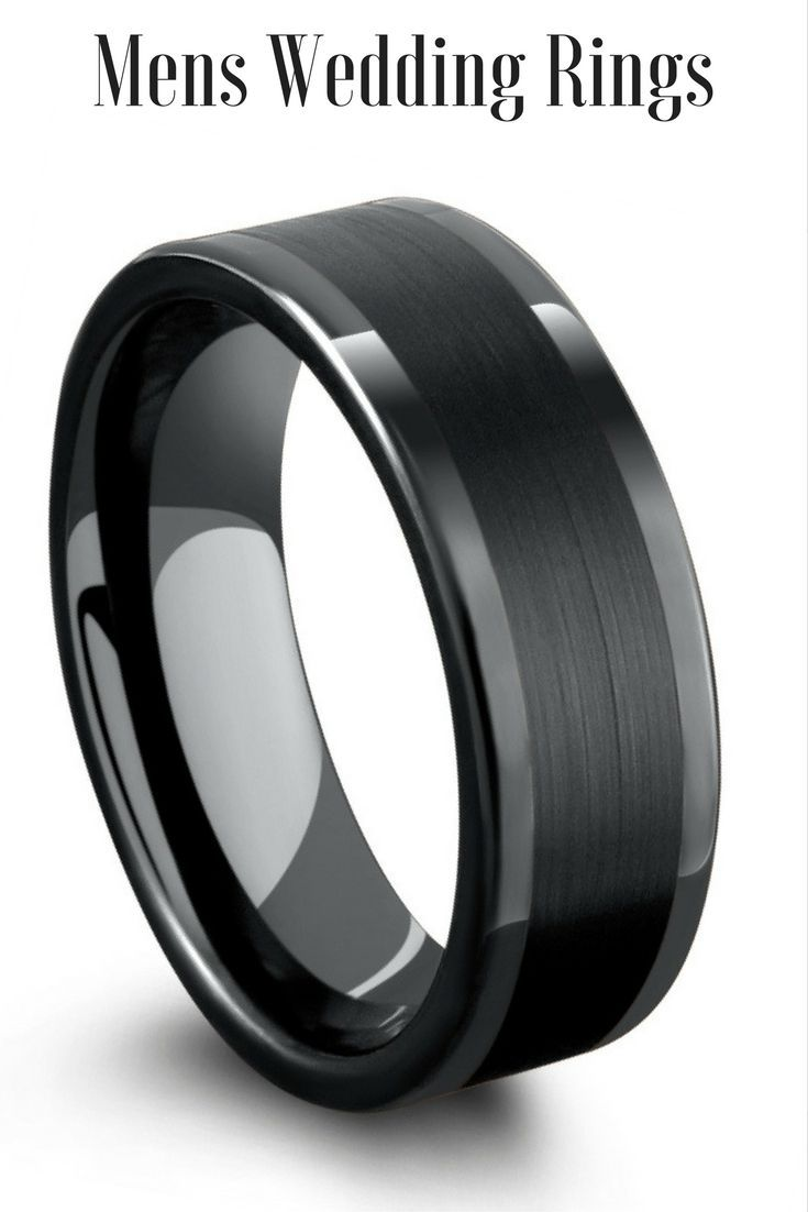 mens 8mm black tungsten wedding ring with a brushed center download - Black Wedding Ring For Him