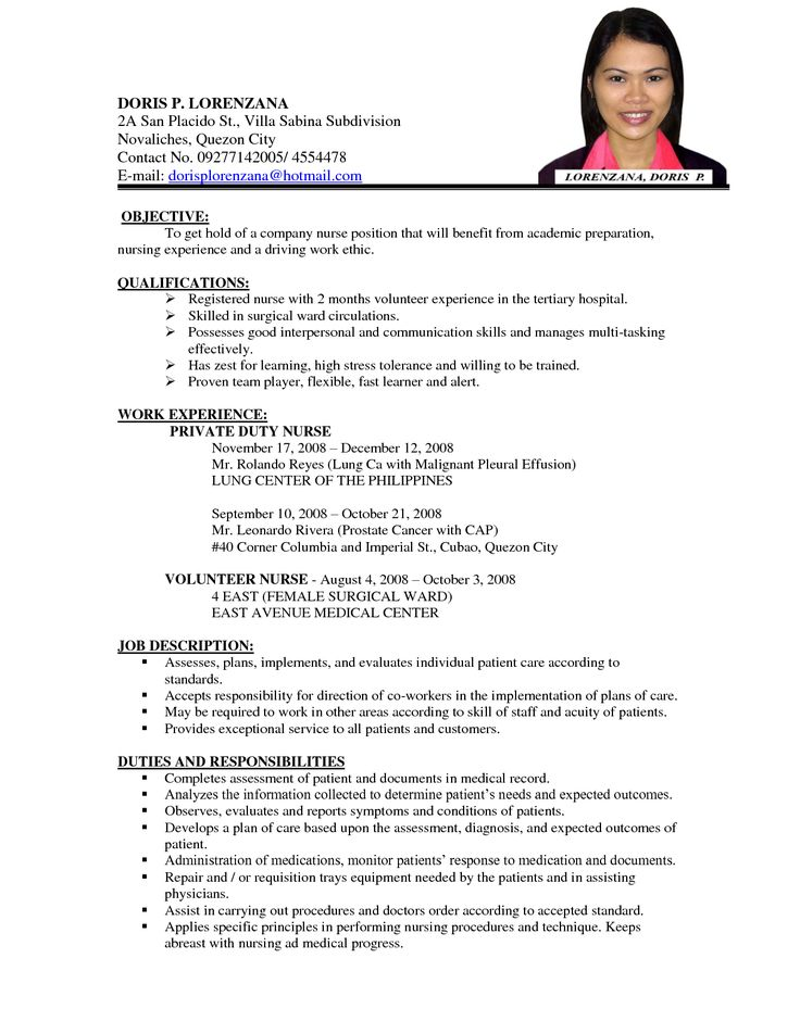 sample staff nurse resume free download