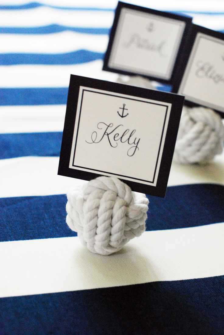 nautical party inspiration party city wedding Preppy Anchor Nautical Summer Party from WH Hostess Rope Placecards by Party City