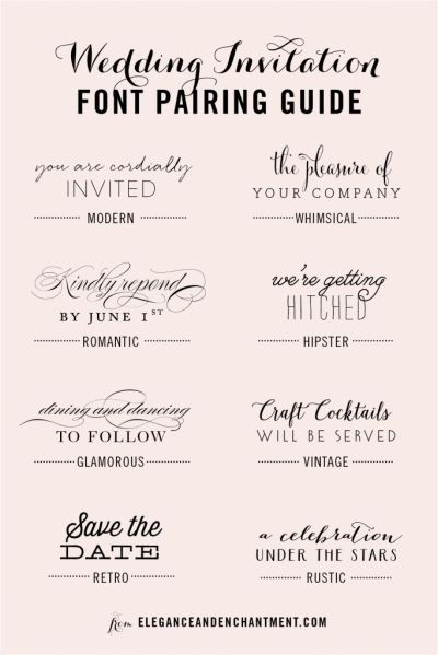 Wedding Invitation Font and Pairing Guide from Elegance ...