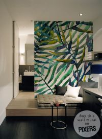 Wall mural leaves abstract pattern wallpaper watercolor ...