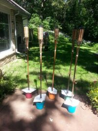TIKI TORCH CONTAINERS Add concrete to small plastic ...