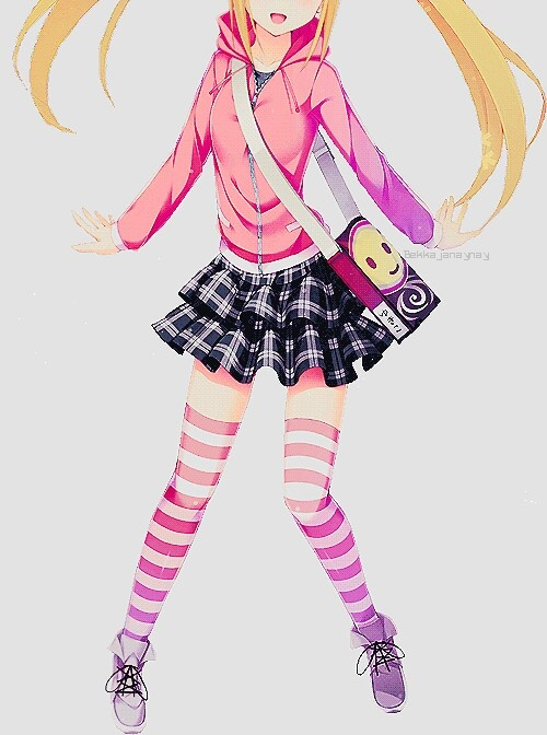 Striped Thigh Highs Anime Girl Wallpaper Anime Art Clothes Cute Fashion Striped Socks