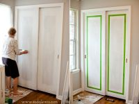 Use tape to make a boarder. Paint doors. Peel off paint ...