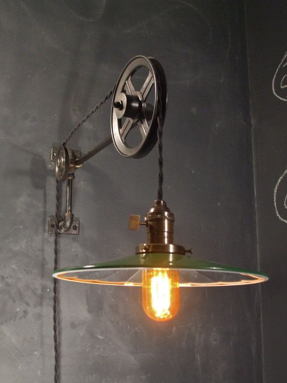 Wandlampen Retro Design Vintage Industrial Pulley Sconce - Mirrored Shade - Wall