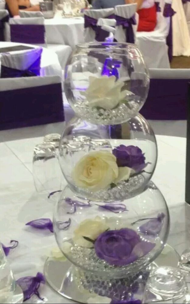 4 X Set Of 3 Fish Bowls For Wedding Table Decorations