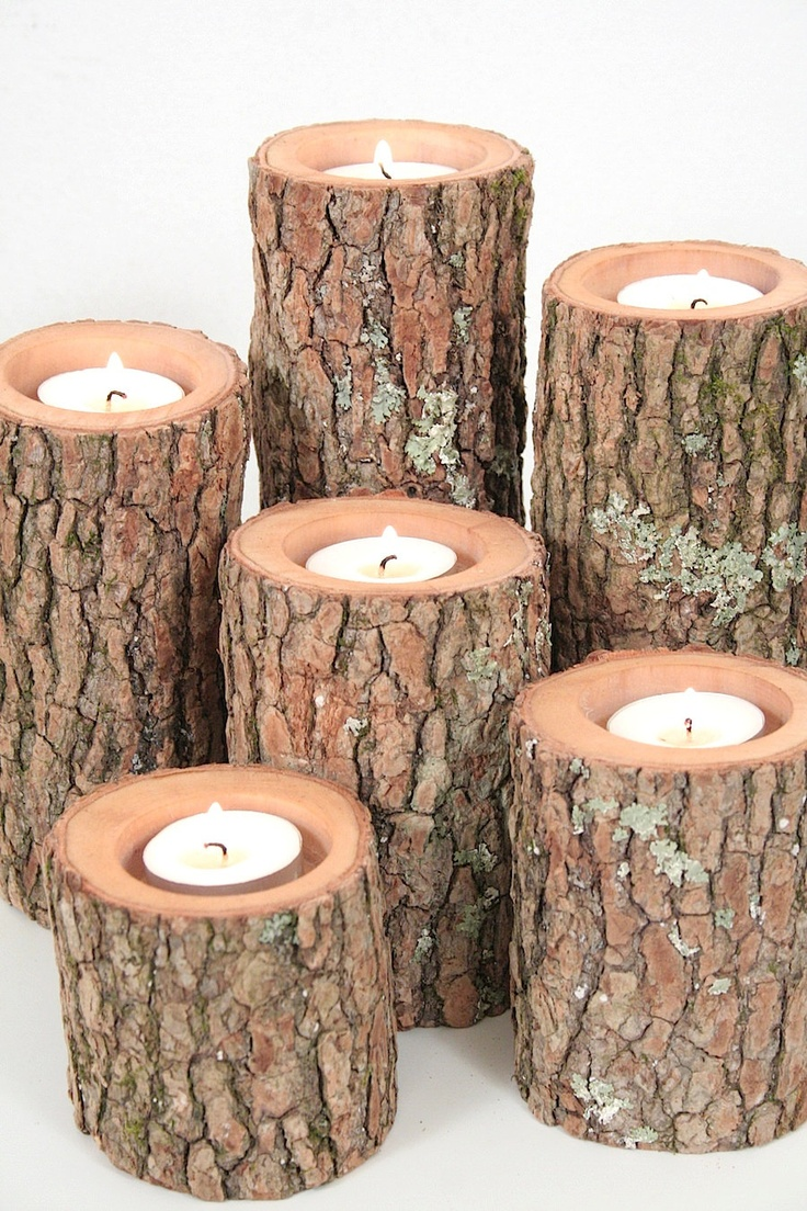 Tree Branch Candle Holders Set Of 6 Rustic Wedding
