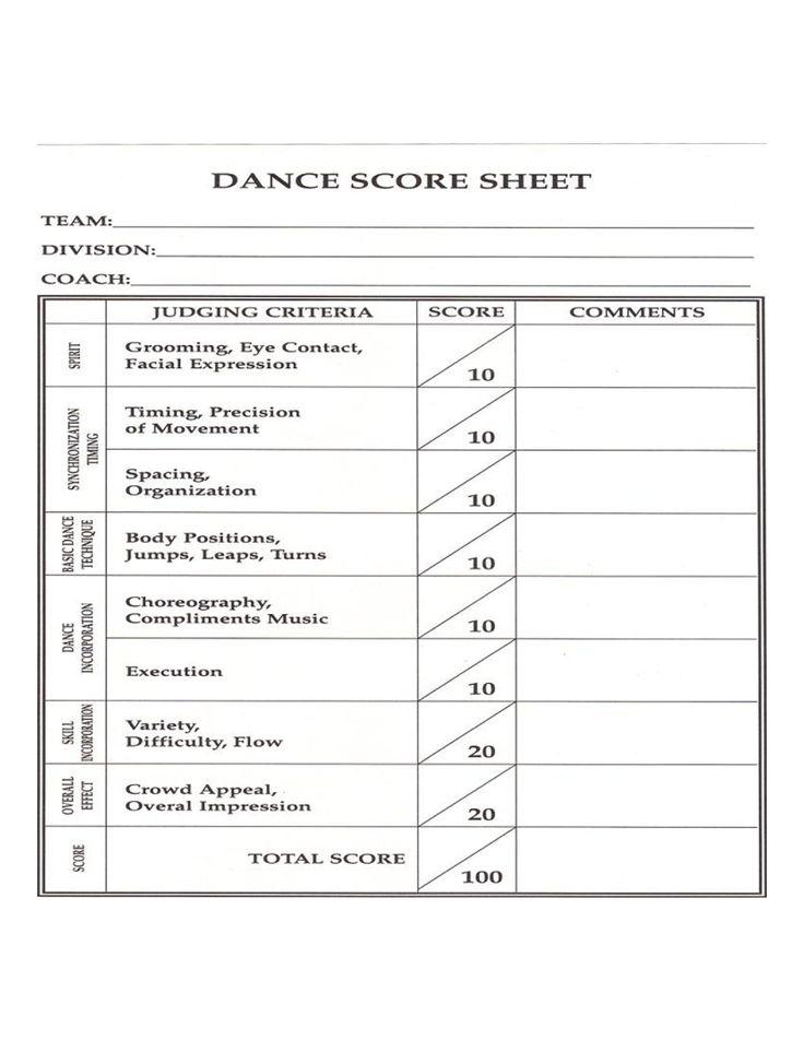 dance competition score sheet
