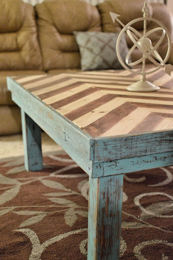 Chevron table top white and wood chevron blue coffee table