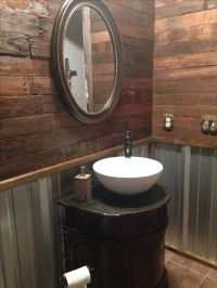 Remodel, rustic bathroom with pallet wall and corrugated ...