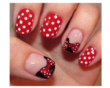 Disney Nail Art Minnie Mouse Nails Pinterest