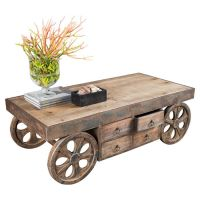 Rustic Coffee Table With Wheels - WoodWorking Projects & Plans
