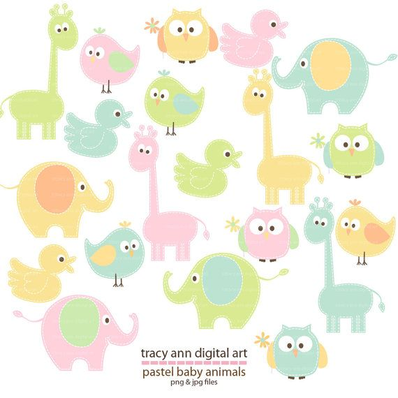 Pastel animal clip art baby animal clipart giraffe