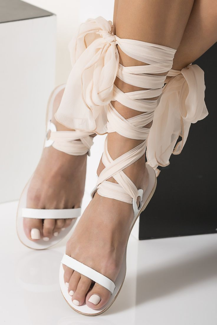 bridal sandals wedding sandals for bride Nude Bridal Sandals with silk laces Customizable Agape