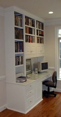 white cabinet computer desk built-in | Ideas in a home ...