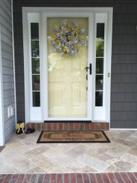 travertine tile on our new front porch... so much nicer ...