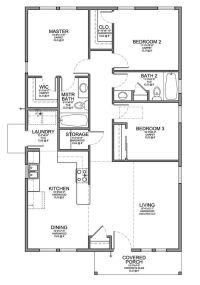 Floor Plan for a Small House 1,150 sf with 3 Bedrooms and ...