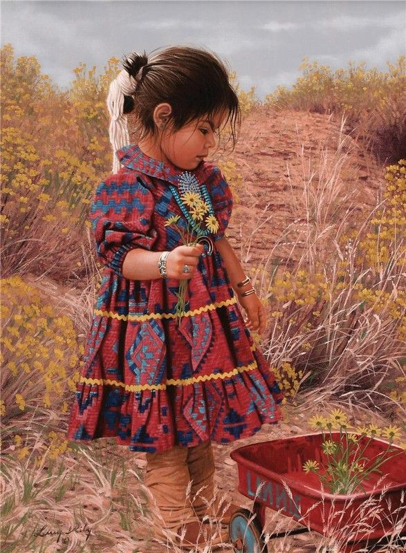 Boy And Girl Doll Wallpaper Larry Riley Art Native Amerikan Westeren Art