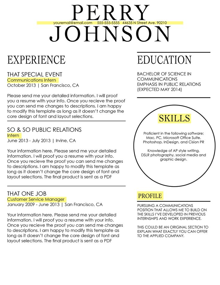show me some resume formats