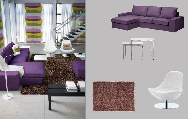 Ikea Tirup Kivik Two-seat Sofa And Chaise Longue With Dansbo Lilac