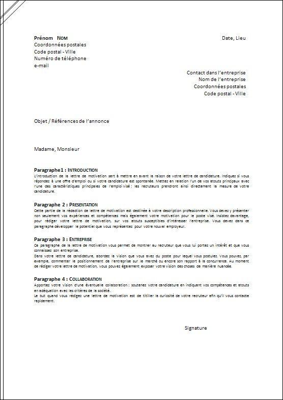 exemplde de lettre de cv