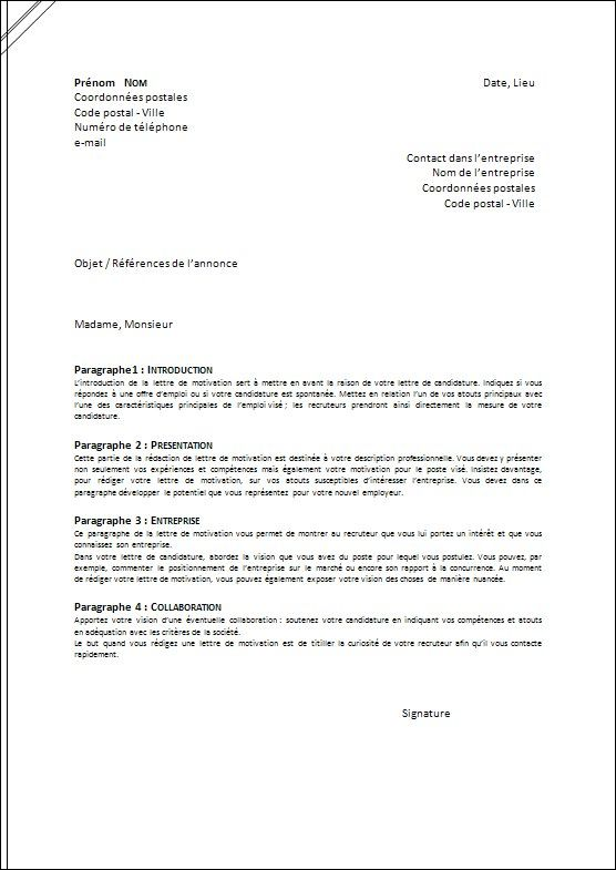 cv lettre de motivation village outlet