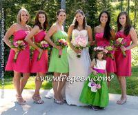 Lime Green and hot pink Bridesmaid dress | Bridesmaid ...