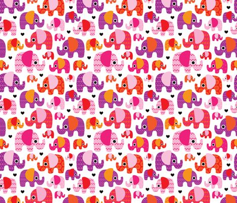 Cute Zig Zag Wallpapers Pink Hot Aztec Elephant Parade Fabric By Littlesmilemakers