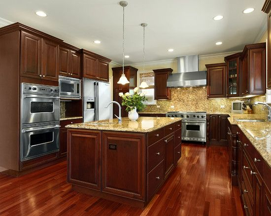 Kitchens With Cherry Wood Cabinets Design Pictures