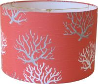 lampshapes.com - Coral Lamp Shade - Drum - White and Gray ...