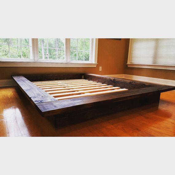 Floating Platform Bed, Wide Ledge Bed, Loft Bed, Low