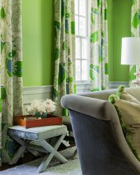 Dining room with apple green walls and beautiful curtains ...