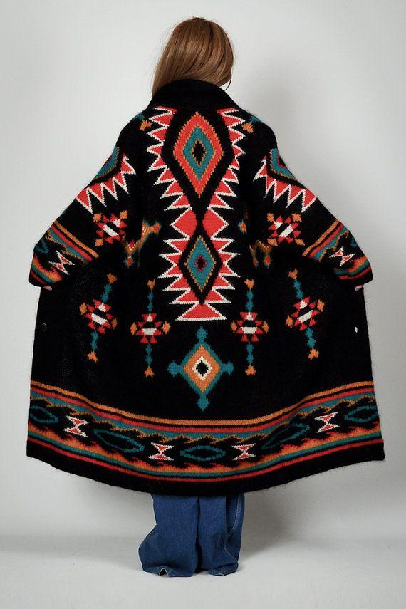 Vintage 80s Wool Southwestern Maxi Cardigan Sweater Coat