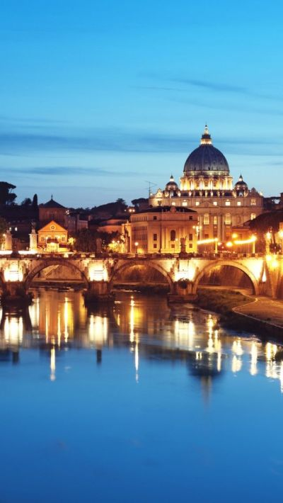 St. Peter's Basilica At Night, Rome Italy iPhone 5 wallpapers, backgrounds, 640 x 1136 | TRAVEL ...