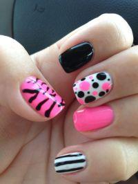 Gel Polish nail art hot pink, black, and white   Nail Art ...