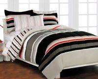Nautical Stripe Gray 5p Boys Teen Bedding Set Twin | Twin ...