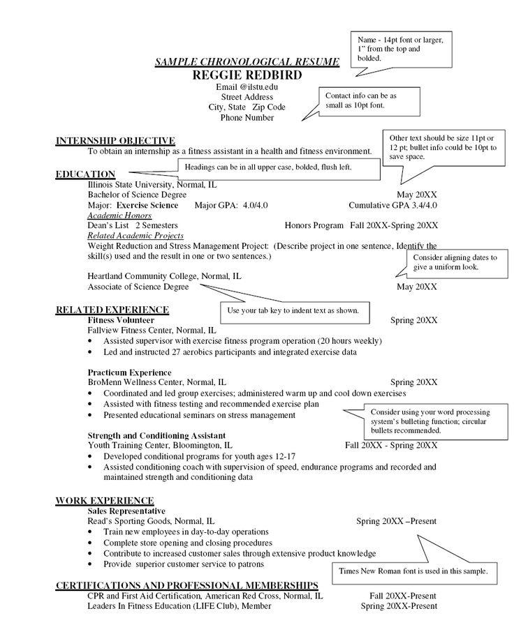 chronological resume example high school