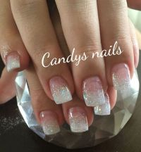 White glitter fade acrylic nails! | Candys Nails ...