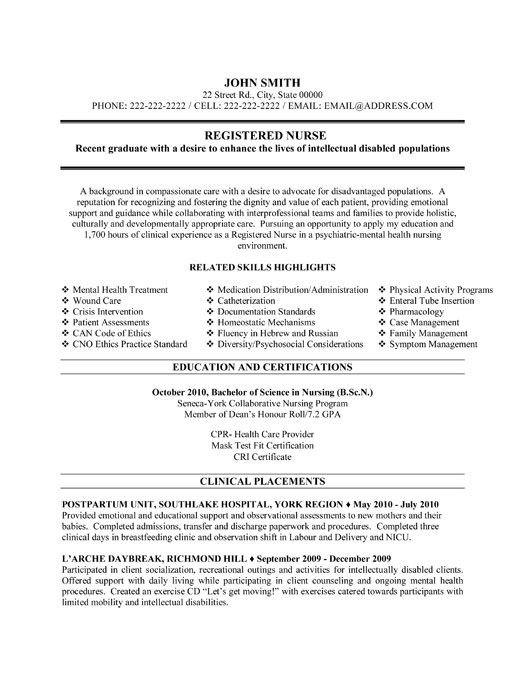 canadian resume sample for nurses