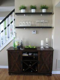 Living room bar area - Ikea Lack shelves, World Market ...