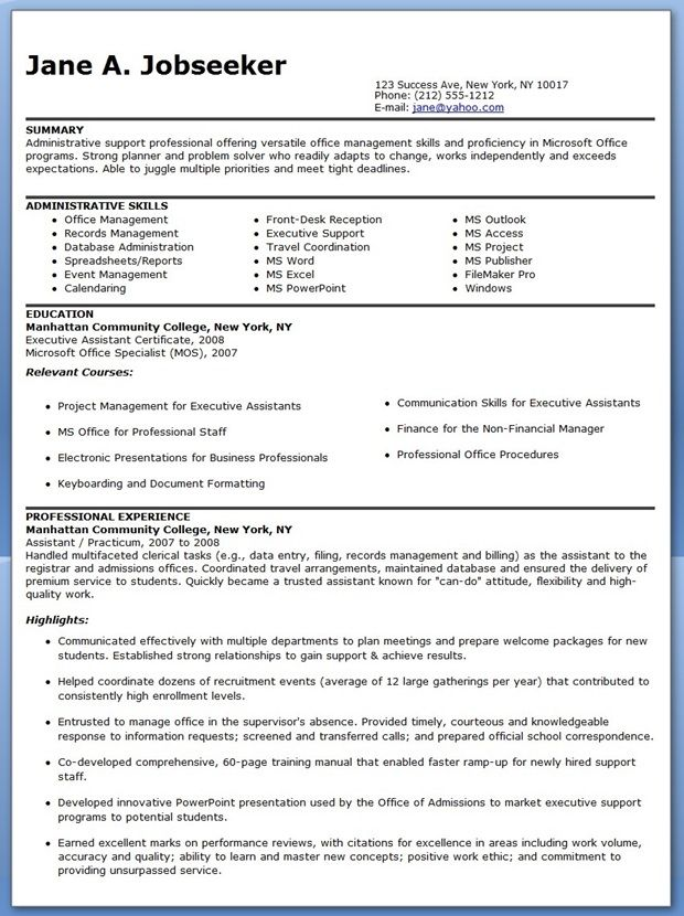 Examples Of Executive Assistant Resumes Administrative Assistant - executive assistant job description resume
