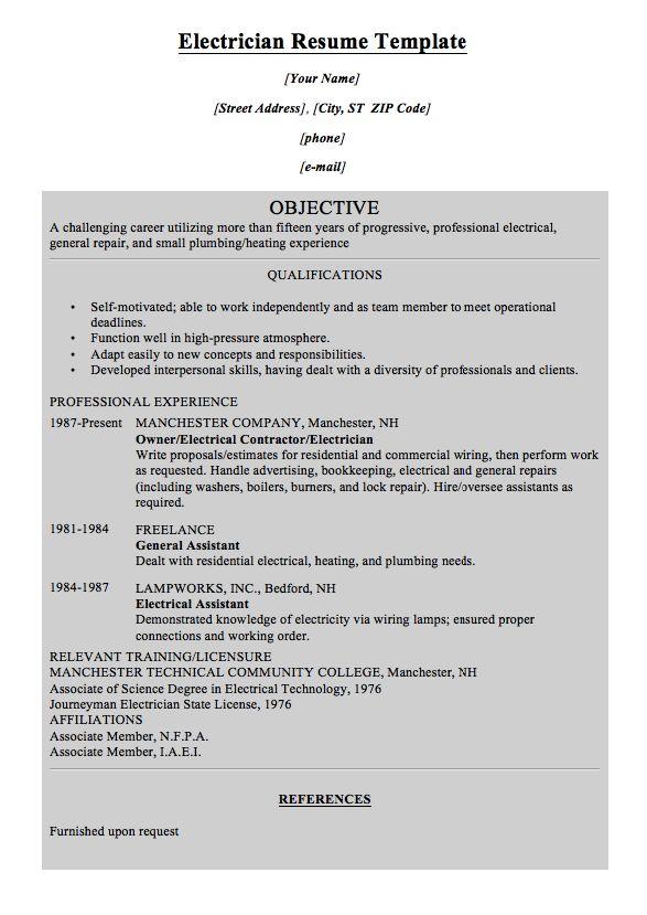 Electrician Resume Template MACROBUTTON DoFieldClick Your Name - electrician resume template