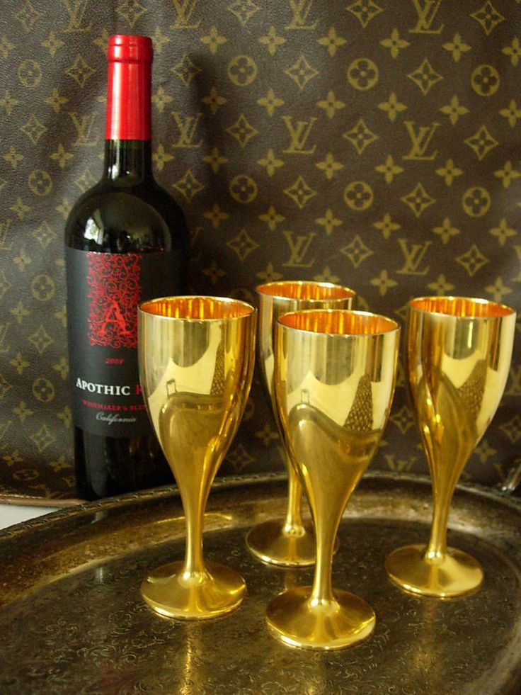 Wine Glasses Rare Vintage Gucci Gold Metal Wine Glasses Barware Set Gg